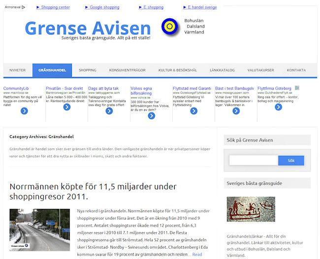 Grense Avisen - en blogg om gränshandel och shopping över gränsen samt tips om sevärdheter, aktiviteter, kultur, utställningar, besöksmål m.m